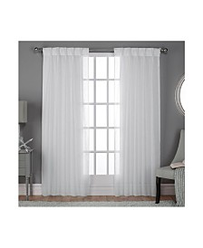 Exclusive Home Belgian Textured Sheer Pinch Pleat Curtain Panel Pair