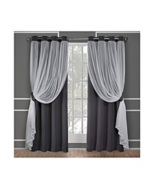 Catarina Layered Solid Blackout and Sheer Grommet Top Curtain Panel Pair