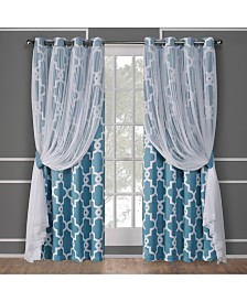 Exclusive Home Alegra Layered Geometric Blackout and Sheer Grommet Top Curtain Panel Pair