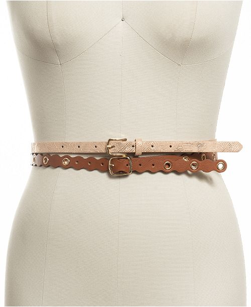 INC International Concepts I.N.C. 2-Pc. Set Snake and Grommet Faux Leather Belts, Created for Macy's