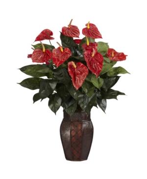 Nearly Natural Anthurium w/ Vase Silk Plant