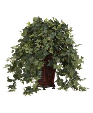 Nearly Natural Vining Puff Ivy w/ Decorative Vase Silk Plant