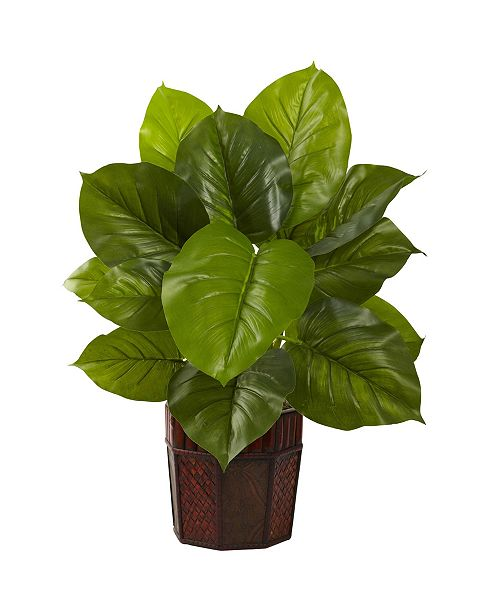 Nearly Natural Large Leaf Philodendron w/ Decorative Planter - Real Touch