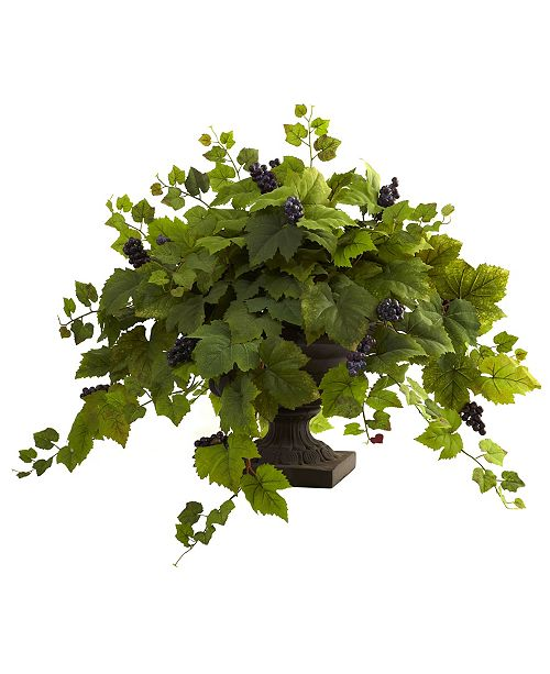 Nearly Natural Grape Leaf w/ Iron Colored Urn