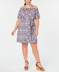 MICHAEL Michael Kors Plus Size Mosaic Off-The-Shoulder Dress