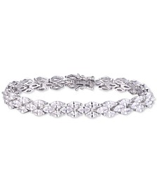 Cubic Zirconia Marquise Tennis Bracelet in Sterling Silver