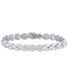 Tiara Cubic Zirconia Marquise Tennis Bracelet in Sterling Silver