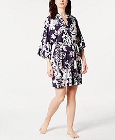Linea Donatella Lulita Floral-Print Satin Wrap Robe