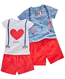 First Impressions Baby Boys & Girls Red, White & Blue Tops & Shorts Separates, Created for Macy's
