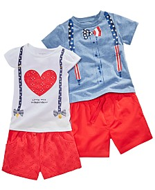 First Impressions Toddler Boys and Girls Red, White & Blue Tops & Shorts Separates, Created for Macy's