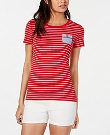 Cotton Striped Pocket T-Shirt