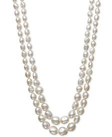 "Belle de Mer Cultured Baroque Freshwater Pearl (6-10mm) Graduated Double Strand Collar Necklace, 16"" + 2"" extender"