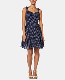 Betsey Johnson Petite Polka Dot Fit & Flare Dress