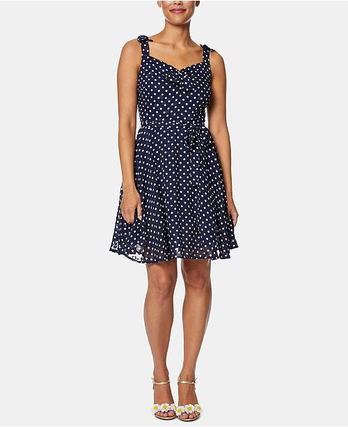 Betsey Johnson Polka-Dot Fit & Flare Dress
