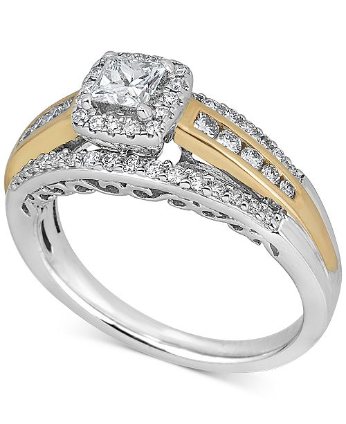 Macy's Diamond Engagement Ring (3/4 ct. t.w.) in 14k Gold & 14k White Gold