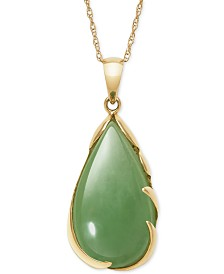 "Dyed Jade 18"" Pendant Necklace in 14k Gold"