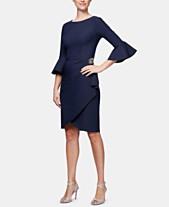370af99ea5 Alex Evenings Bell-Sleeve Draped Compression Sheath Dress