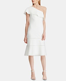 Lauren Ralph Lauren Crepe One-Shoulder Dress