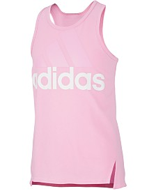 adidas Big Girls Logo-Print Shaped-Hem Tank Top