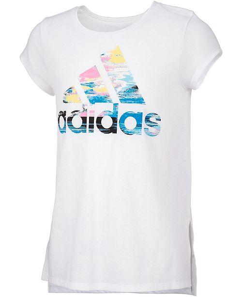adidas Little Girls Logo-Print Vented-Hem T-Shirt