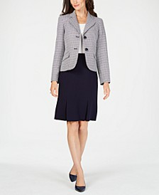 Two-Button Tweed & Solid Skirt Suit
