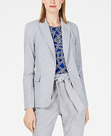 Calvin Klein Petite Printed One-Button Jacket