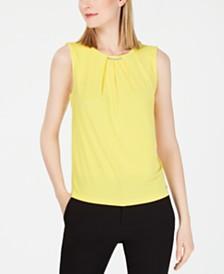 Calvin Klein Pleat-Neck Top
