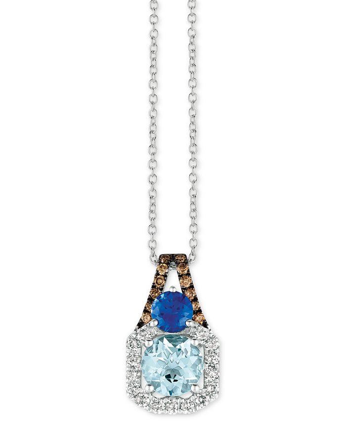 """Le Vian - Multi-Gemstone (1-3/8 ct. t.w.) & Diamond (1/3 ct. t.w.) 18"""" Pendant Necklace in 14k White Gold"""