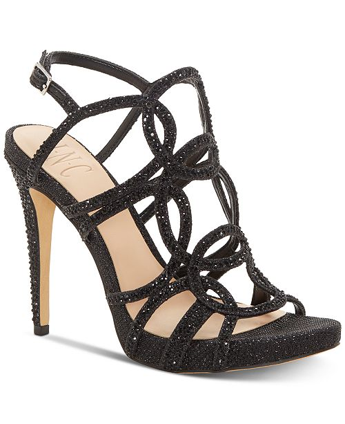 INC International Concepts I.N.C. Sahvi Caged Bling Evening Sandals, Created for Macy's