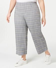 Bar III Plus Size Plaid Wide-Leg Pants, Created for Macy's