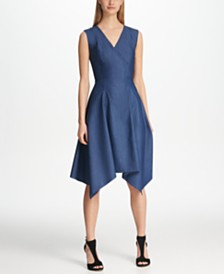 DKNY Denim V-Neck Handkerchief Hem Dress