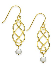 Giani Bernini Freshwater Pearl (5mm) Woven Wire Drop Earrings in 18k Gold-Plated Sterling Silver, Created for Macy's