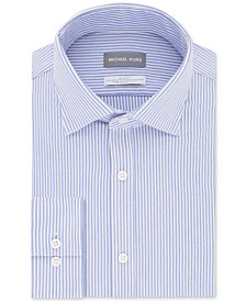 Michael Kors Men's Slim-Fit Non-Iron Performance Knit Stripe Dress Shirt