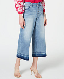 INC Cropped Wide-Leg Released-Hem Jeans, Created for Macy's