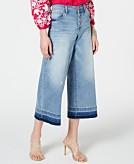 I.N.C. Petite Cropped Wide-Leg Released-Hem Jeans Created for Macys