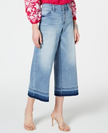 I.N.C. Petite Cropped Wide-Leg Released-Hem Jeans, Created for Macy's