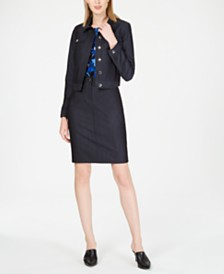 Calvin Klein Denim Jacket, Sleeveless Pleat-Neck Camisole & Denim Skirt