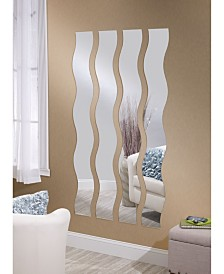 Mirrotek Set of 4 Decorative Wavy Strip Mirrors