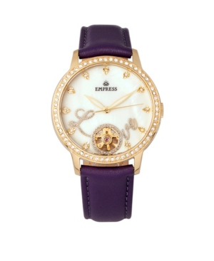 Quinn Automatic Purple Leather Watch 41mm