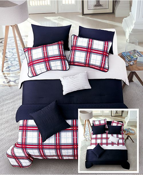 Riverbrook Home Red Plaid 6 Pc Twin Layered Comforter and Coverlet Set