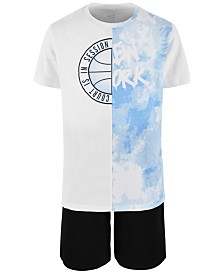 Ideology Big Boys Spliced Graphic T-Shirt & Sweat Shorts Separates, Created for Macy's