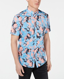 I.N.C. Men's Brushstroke Floral-Print Shirt, Created for Macy's