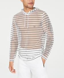 I.N.C. Men's Stripe Mesh Hooded T-Shirt, Created for Macy's