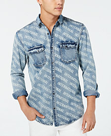 I.N.C. Men's Logo-Print Denim Shirt, Created for Macy's