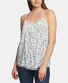 1.STATE Afternoon Bouquet Lace-Trim Top