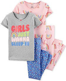 Carter's Little & Big Girls 4-Pc. Cotton Rainbow Pajamas Set