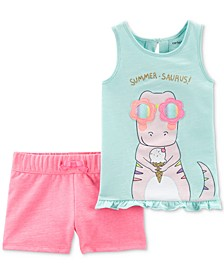 Baby Girls 2-Pc. Summer-Saurus Top & Shorts Set