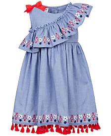 Blueberi Boulevard Toddler Girls Cotton Ruffle Embroidered Dress