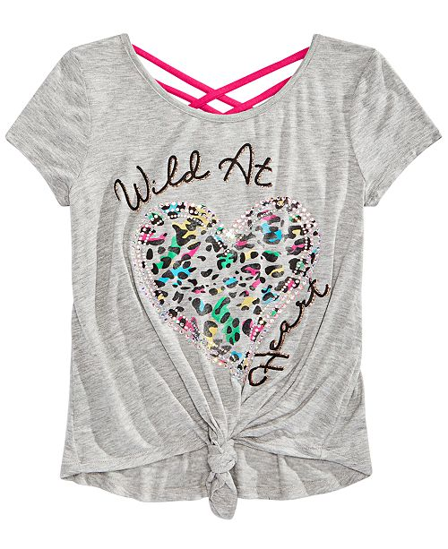Beautees Big Girls Graphic-Print Crisscross Top