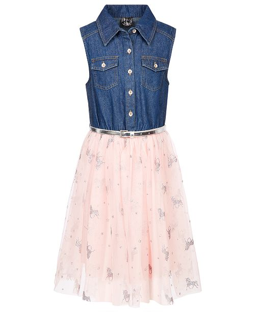 Pink & Violet Big Girls Denim Unicorn-Print Shirtdress